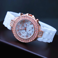 Promotion!! Fashion Geneva Women Rose Gold Case Diamond Bling Silicone Wrist Watch Quartz Best Gift Free Drop Shipping