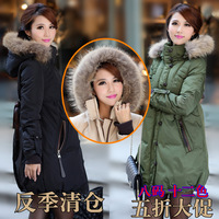Free shipping xxxl xxxxl xxxxxl 5xl plus size thickening large fur collar long down coat fashion fur winter down trench jacket