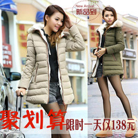 Free shipping XXXL XXL XL snow Winter outerwear thickening coat down trench top womens long plus size clothing hood down jacket