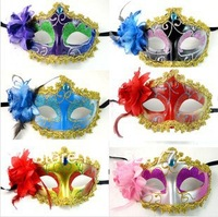 free shipping 2013 new fashion beautiful carnival mask flower side Venetian masquerade party mask