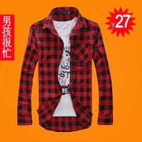 Fashionable casual autumn men's long-sleeve shirt male lovers shirt male slim plaid shirt