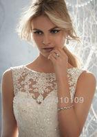 fNEW DESIGN Sleeveless sheer neckline embellished with crystal beads lace low back wedding dresses  bridal dress
