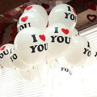 100pcs Heart I Love You U12 inch  Novelty balloons Party Wedding Valentine's Day Birthday Party Decor Latex Balloons Sale
