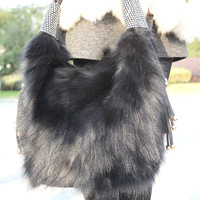 Free shipping 2013 fox fur wool bags casual quality autumn and winter genuine leather bag messenger bag fox fur bag