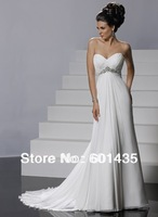 Freeshipping! WR8927 Sweetheart Chiffon Empire Waist Plus Size Maternity Wedding Dress for Pregnant Woman