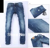 Free Shipping retail fashion 2014 high quality Nostalgic retro beggar hole cotton brand men's jeans