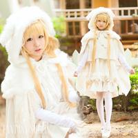 Gosick Cosplay Victorique de Blois Costume Bunny Ears Cape Lolita White Lovely