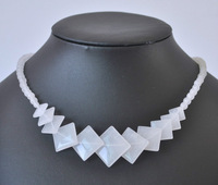 Crystal clear white jade natural stone beads   necklace 18