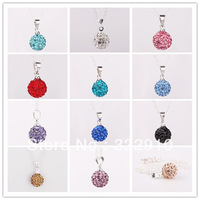 Jewelry mixed orders, high quality 10MM crystal ball the Shamballa fashion pendant necklace free shipping 12pair/lot
