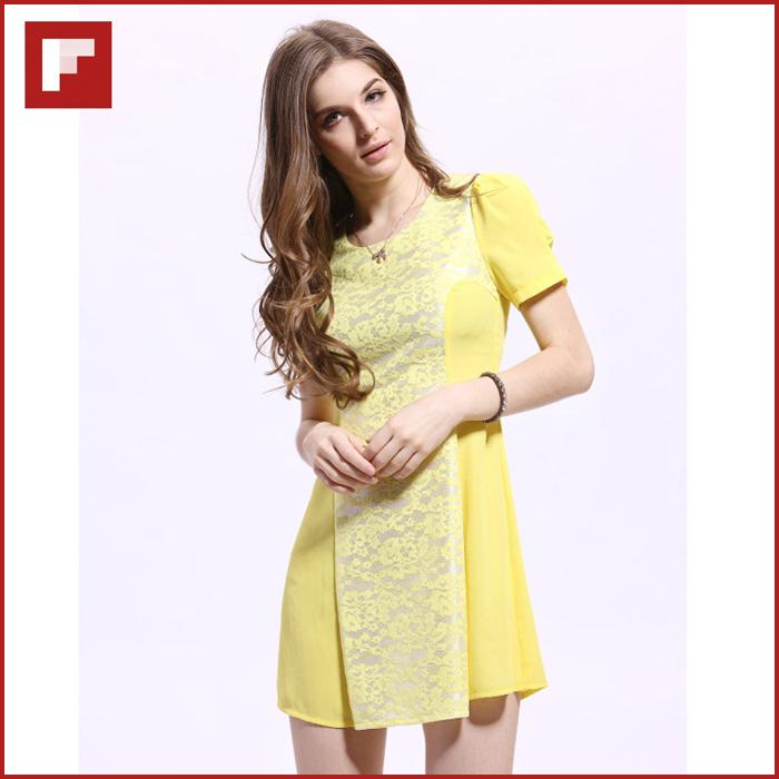 Original design Cute Mini Dress,Lace Patchword Yellow Color Woman Dress Unique Design Real Model Photos(China (Mainland))