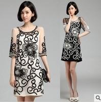Luxury Women's Handmade Beading Embroidery Flowers Dress, Pearl Beading Fashion Half Sleeve Dress