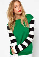 2013 fashion all-match fashion stripe plus velvet sleeves patchwork green o-neck women's sweatshirt