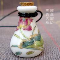 Hot-selling women ceramic vintage necklace lanyards essential lady/girl oil bottle perfume bottle wishing bottle watercolor