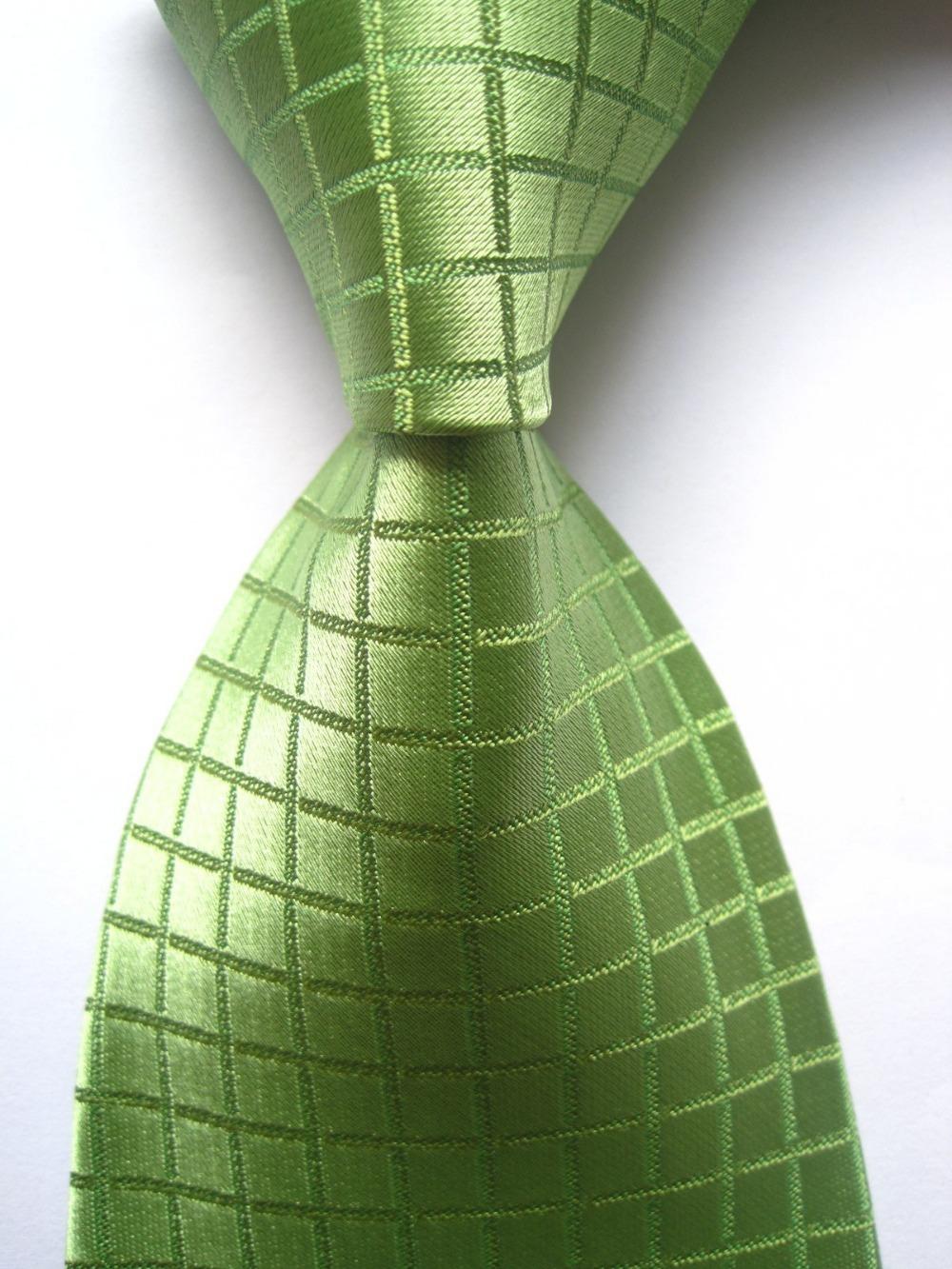 New Classic Checks Green JACQUARD WOVEN 100% Silk Men's Tie Necktie SN421(China (Mainland))