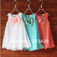 hot sale 2013 summer korean fashions flower princess dresses children clothing 3t to 7 girl dresses