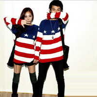 2013 vintage five-pointed star american flag red, white and blue stripe o-neck loose sweater lovers