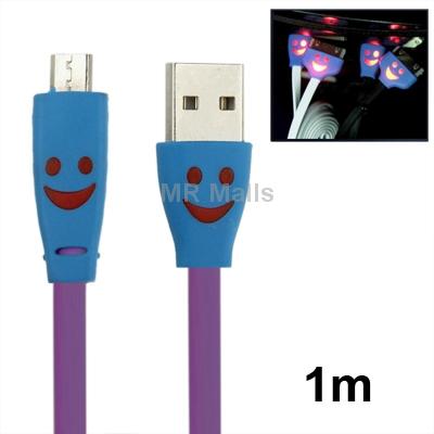 Glowing Smile Purple Micro USB to USB Data Cable for Samsung Galaxy S4/ i9500/ S3/ i9300/ HTC/ LG/ Sony/ Nokia Lumia, Length: 1m(China (Mainland))