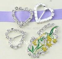 MIC 50pcs Heart Crystal Rhinestone Ribbon Slider Buckles Wedding Invitations 20mm