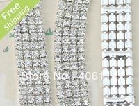 MIC 4-row Crystal Rhinestone Trims Close Chains Silver ss16 x1 yard Wedding Dec