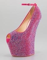 20cm heels crystal platform wedge heels genuine leather high heel sandals peep toes shoes