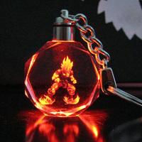 wholesale Dragon ball Goku Kakarot Trunks Vegeta Frieza Super Saiyan Model crystal super luminous led key hanging buckle