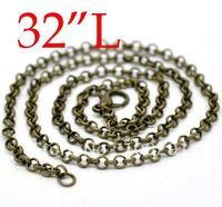 "Free ship!!!  200pcs/lot Bronze Tone Link Chain Necklaces/rolo chain 3.2mm 32""L"