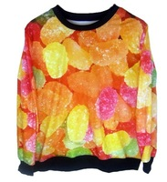 European fashion winter sweater pullover 3D print candy Harajuku Star HOODIES sweatshirts women autumn clothing new hot!