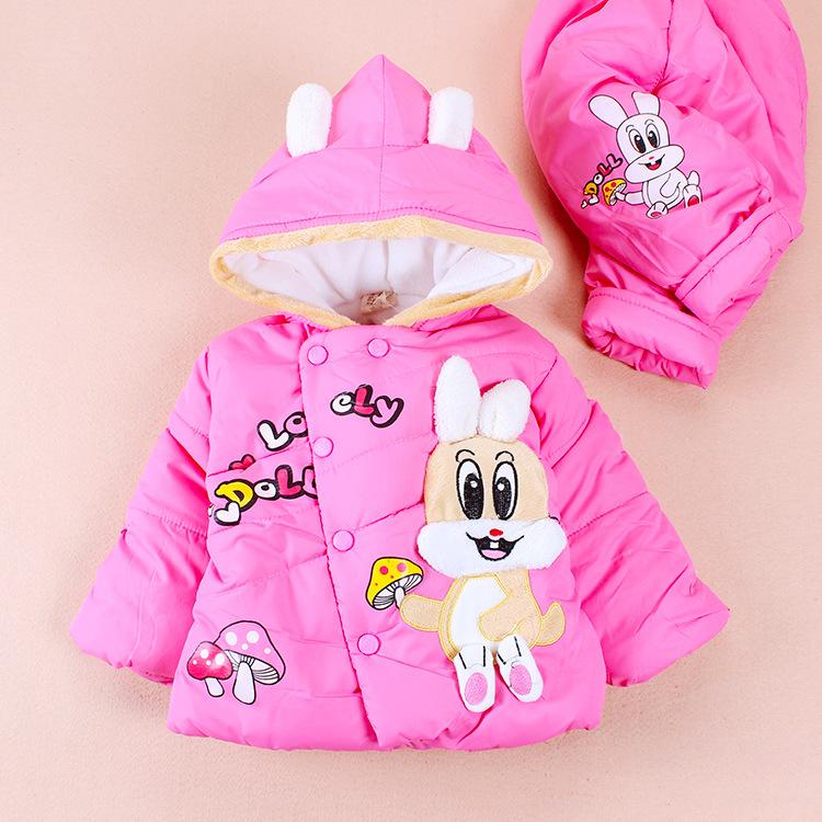 Frete grátis ! Inverno meninas / coelho do bebê grossa jaqueta acolchoada / paletó + calça as roupas infantil(China (Mainland))