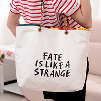 Free Shipping 2013 fashion canvas shopping bag chain shoulder bag women's