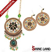 Free Shipping 2014 Bohemia Women Colorful Enamel Beads Pendants Charms Long Necklaces & Drop Earrings Jewelry Sets D22405/K22393