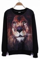 Harajuku 3D printing animal lion head tide FASHION NEW ARRIVAL loose pullover sweater sweatshirts WOMEN hoodies autumn big size