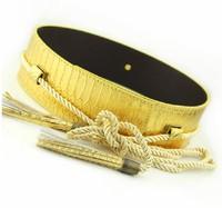 Fashion decoration women's wide belt serpentine leather cummerbund gold black tassel strap t belt