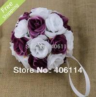 "2pc 5"" Dark Purple White Rose Flower Kissing Ball Wedding Flowers Decoration"