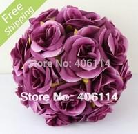 "MIC 2pcs 5"" Dark Purple Silk Rose Flower Kissing Ball Wedding Flower Decoration"