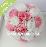 "MIC 2pcS  5""  Pink White Rose Flower Kissing Ball Wedding Flowers Decoration"