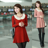 2013 autumn and winter women loose sweater medium-long lace peter pan collar shirt basic wool sweater