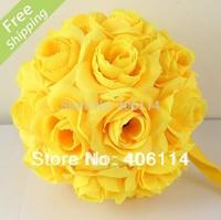 "MIC 2pcs 5"" Bright Yellow  Silk Rose Flower Kissing Ball Wedding Flower Decoration"
