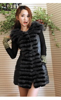 Hot Sale FS6169077 Fashion Genuine Fox  fur Rabbit Vest Leather Down Gilet Cape Shawl Brown Grey  wholesale / Retail / OEM  Top