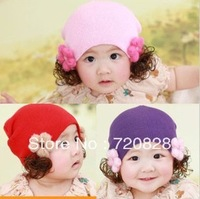 Hotsale! Free shipping 10PCS/lot 2013 Newest  Baby Girl Cotton Hats Infant  Floral Wig Hats Kids Lovely  Caps 4colors