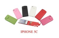 Free Shipping Flip Down PU wallet  Leather Case cover with credit card slots  For iPhone 5C,Mix Colors