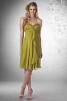 A-Line Sweetheart Knee-Length Chiffon Bridesmaid Dress With Ruching HWGJBD15