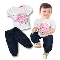 new summer female child print short-sleeve t jeans set fashion baby girls cartoon elephant t shirt cotton set free shipping