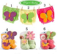 2013 new style lovely baby boys girls  butterfly shorts+ flower hair accessory + socks 3pcs set cute infant birthday gift box