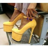 Free Shipping 16cm pumps Super Yellow Platform Suede Designer Heels 2013 Party Pumps Dropship