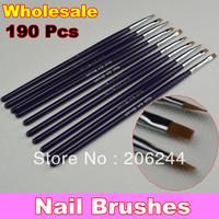 Wholesale Professional Nail Art Brush Set for UV Gel Builder Nal Brushes Dropshipping, 190 Pcs/Lot + Free Shipping