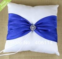 MIC Royal Blue Bow Rhinestone Wedding Ceremony Satin Ring Bearer Pillow 20X20cm