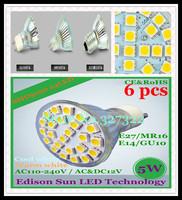 Free Shipping 6 pcs SMD 5050 24 LED 5W GU10 E27 E14 MR16 AC110-240V / AC&DC12V LED Spotlight Bulb LED light Downlight lamp