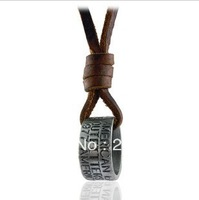 Free shipping,Men's Fashion casual leather rope necklace,Retro lettering ring,Antique color,Size:2.4*1.1cm,wholesale 5pcs