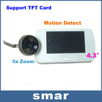 "2013 Newest 4.3"" LCD Digital Video Door Viewer Peephole 3x Zoom Doorbell IR Camera+  Motion Detect Free shippping"