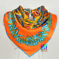 "2013 Fashion European Style ""H"" Style Design 90*90cm Women Top Grade Square Silk Scarf Printed For Spring,Summer,Autumn,Winter"